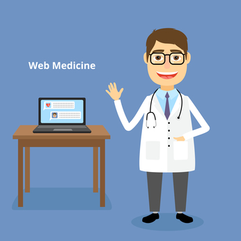 Web medicine concept with a happy friendly doctor wearing a stethoscope standing alongside a table with a laptop ready to answer your questions and help with an online diagnosis vector illustration